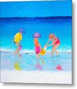 Beach Painting - Water Play  Metal Print
