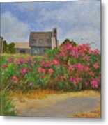 Beach Roses And Cottages Metal Print