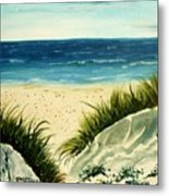 Beach Sand Dunes Acrylic Painting Metal Print