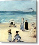 Beach Scene Metal Print by Edouard Manet
