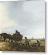 Beach Scene With Fishermen Metal Print
