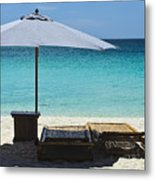 Beach Scene With Lounger And Umbrella Metal Print