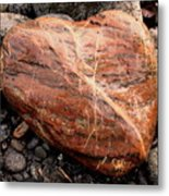 Beach Stone Heart Metal Print