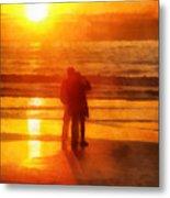 Beach Sunrise Love Metal Print