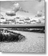 Beach Sunset Bw Metal Print