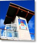 Beach Tower In Blue Sky Metal Print