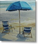 Beach Umbrella - Hilton Head Metal Print