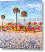 Beach Umbrella Lineup Metal Print by Michael Garyet
