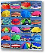 Beach Umbrella Medley Metal Print