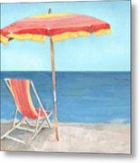 Beach Umbrella Of Stripes Metal Print