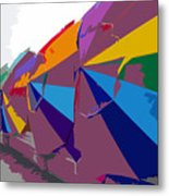 Beach Umbrella Row Metal Print