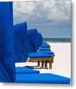 Beach Umbrellas 3 By Darrell Hutto Metal Print