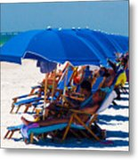 Beach Umbrellas By Darrell Hutto Metal Print