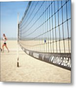 Beach Volleyball Net On The Sand At Long Beach, Ca Metal Print