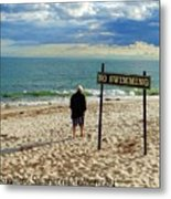 Beach Walking Metal Print