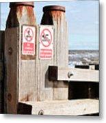 Beach Warning Metal Print