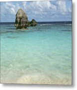 Beach With Big Rock Ahead Vertical Bermuda Metal Print