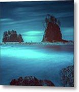 Beach With Sea Stacks In Moody Lighting Metal Print