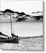 Beached At Coorong Bw Metal Print