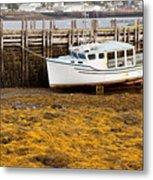 Beached Boat During Low Tide In Nova Scotia Canada Metal Print