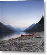 Beached Canoe Awaits Nightfall Metal Print by Royce Howland