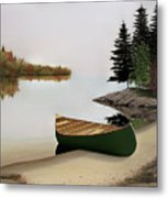 Beached Canoe In Muskoka Metal Print