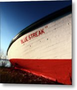beached fishing boat at Hecla on Lake Winnipeg Metal Print