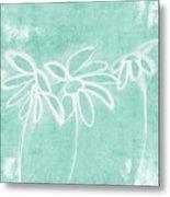 Beachglass And White Flowers 3- Art By Linda Woods Metal Print