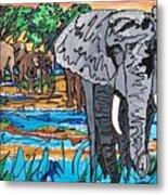 Beaded Elephant Metal Print