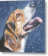 Beagle In Snow Metal Print