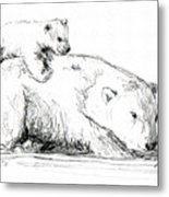 Bear And Cub Metal Print