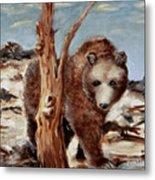 Bear And Stump Metal Print