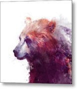 Bear // Calm - Right // White Background Metal Print