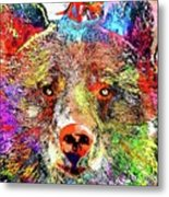 Bear Colored Grunge Metal Print