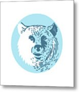 Bear Head Smiling Circle Drawing Metal Print