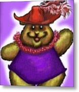 Bear In Red Hat Metal Print