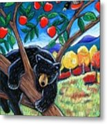 Bear In The Apple Tree Metal Print