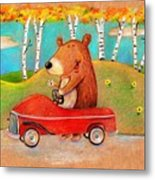 Bear Out For A Drive Metal Print