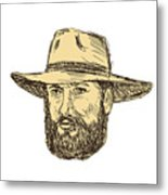 Bearded Cowboy Head Drawing Metal Print