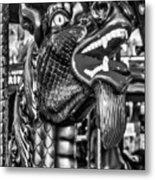 Bearded Dragon Ride Black And White Metal Print