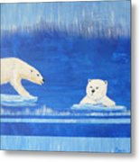 Bears In Global Warming Metal Print