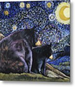 Beary Starry Nights Too Metal Print