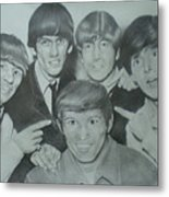 Beatles With A New Friend Metal Print