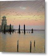 Beau Rivage Lighthouse And Marina Metal Print