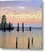 Beau Rivage Marina And Lighthouse Metal Print