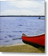 Beaultiful Red Canoe Metal Print