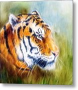Beautiful Airbrush Painting Of A Mighty Fierce Tiger Head On A Soft Toned Abstract Gres Background  Metal Print