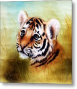 Beautiful Airbrush Painting Of An Adorable Baby Tiger Head Looking Out From A Green Grass Surroundin Metal Print