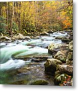 Beautiful Autumn Colors Little Pigeon River Smoky Mountains Metal Print