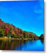 Beautiful Autumn Reflections On Bald Mountain Pond Metal Print
